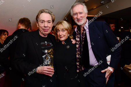 London England 14th November 2016: Andrew Lloyd Webber with Dame Gillian Lynne and Her Husband Peter Land at the School of Rock Press Night at New London Theatre in London On the 14th November 2016