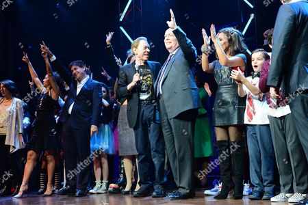 London England 14th November 2016: Andrew Lloyd Webber Julian Fellowes (book) Glenn Slater (lyrics) and Director Laurence Connor with the Cast Including David Fynn and Preeya Kalidas at the School of Rock Press Night in London On the 14th November 2016