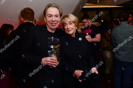 London England 14th November 2016: Andrew Lloyd Webber with Dame Gillian Lynne at the School of Rock Press Night at New London Theatre in London On the 14th November 2016
