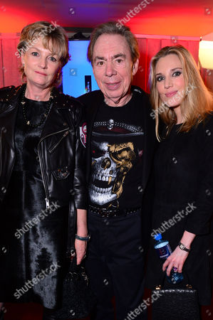 London England 14th November 2016: Andrew Lloyd Webber with His Wife Madeleine Lloyd Webber and Daughter Imogen Lloyd Webber at the School of Rock Press Night at New London Theatre in London On the 14th November 2016