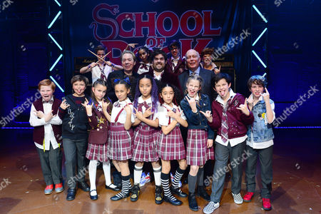 London England 14th November 2016: Andrew Lloyd Webber David Fynn and Julian Fellowes with the Cast at the School of Rock Press Night at New London Theatre in London On the 14th November 2016