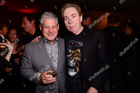 London England 14th November 2016: Cameron Mackintosh and Andrew Lloyd Webber at the School of Rock Press Night at New London Theatre in London On the 14th November 2016