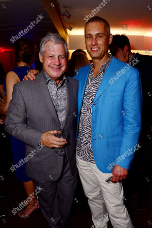 London England 14th November 2016: Cameron Mackintosh with His Partner Michael Le Poer Trench at the School of Rock Press Night at New London Theatre in London On the 14th November 2016