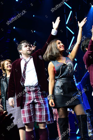 London England 14th November 2016: David Fynn and Preeya Kalidas at the School of Rock Press Night at New London Theatre in London On the 14th November 2016
