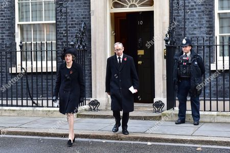 London England 13th November 2016: Prime Minister Theresa May and Husband Philip John May Arrive at Downing Street As the Dignitaries Arrive For the Remembrance Sunday Services at Downing Street in Westminster London On the 13th November 2016