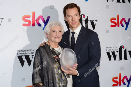 Benedict Cumberbatch Presents Beryl Vertue with the Lifetime Achievement Award at the Women in Film & Television Awards at London Hilton Park Lane London England On the 2nd December 2016