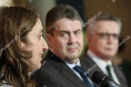 Sigmar Gabriel, Thomas de Maiziere and Aydan Ozoguz