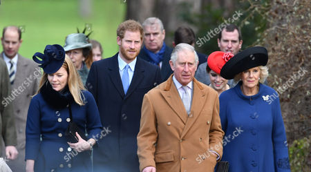 Autumn Philips Prince Harry Prince Charles and Camilla Duchess of Cornwall Along with Other Members of the Royal Family Attend Church in Sandringham On Christmas Day in Norfolk On the 25th December 2016