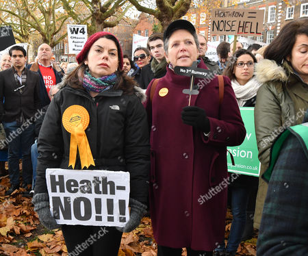 Stock Image of Richmond Upon Thames Uk 19th Nov 2016: Liberal Democrat Candidate For Richmond Park Sarah Olney (in Red Beret) Attends the Rally with Baroness Susan Kramer at the Anti Heathrow Runway Rally in Richmond London On the 19th November 2016