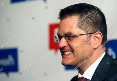 Presidential candidate Vuk Jeremic speaks during an interview with The Associated Press, in Belgrade, Serbia, . Former Serbian Foreign Minister Jeremic was close to being elected the new U.N. Secretary General in October, when he finished second after eventual winner Antonio Guterres. Now, he finds himself in the vote which he said is more irregular than he could have ever imagined