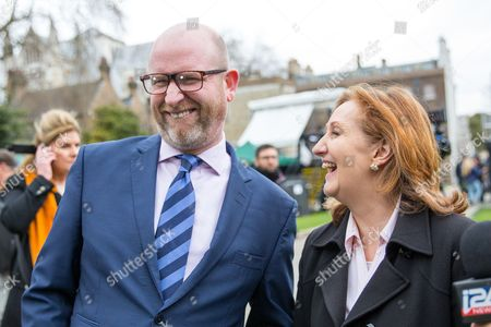 Leader of UKIP Paul Nuttall and Suzanne Evans on College Green