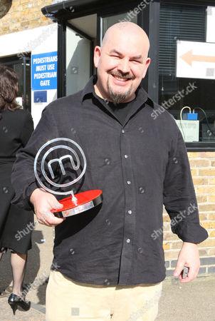 Mat Follas winner of Master Chef leaving the studios