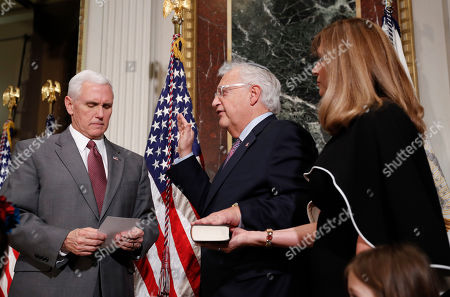 Neil Gorsuch, Mike Pence, David Friedman, Elizabeth Cook Vice President Mike Pence, left, administers the oath of office to U.S. Ambassador to Israel David M. Friedman, center, accompanied by his wife Tammy, right, in the Eisenhower Executive Office Building on the White House complex in Washington