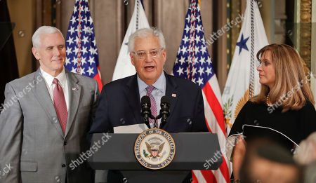 Donald Trump, Mike Pence, David Friedman, Elizabeth Cook U.S. Ambassador to Israel David M. Friedman, center, accompanied by his wife Tammy, right, speaks after Vice President Mike Pence, left, administered the oath of office, in the Eisenhower Executive Office Building on the White House complex in Washington