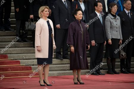 Stock Photo of Dragica Nikolic, Peng Liyuan Dragica Nikolic, left, wife of Serbian President Tomislav Nikolic, and Peng Liyuan, wife of Chinese President Xi Jinping, stand together during a welcome ceremony at the Great Hall of the People in Beijing