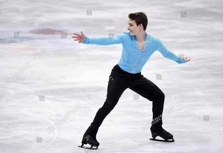Graham Newberry of Great Britain performs his routine during the men's short program at the ISU World Figure Skating Championships in Helsinki, Finland