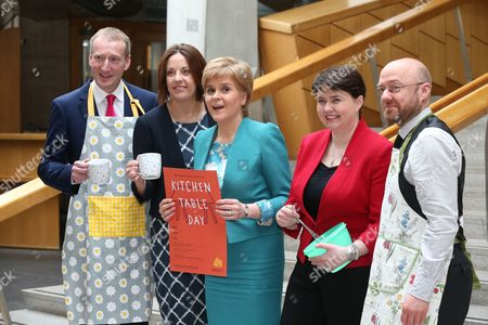 Tavish Scott (Scottish Liberal Democrats), Kezia Dugdale, Leader of the Scottish Labour Party, Nicola Sturgeon, First Minister of Scotland and Leader of the Scottish National Party (SNP), Ruth Davidson, Leader of the Scottish Conservative and Unionist Party, and Patrick Harvie, Co-convener of the Scottish Greens