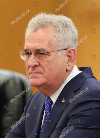 Serbian President Tomislav Nikolic attends a meeting with Chinese President Xi Jinping at the Great Hall of the People in Beijing, China. Nikolic is on a state visit to China