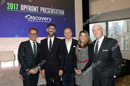 L to R): Erik Logan, President of OWN; Rich Ross, Group President, Discovery Channel, Animal Planet, Science Channel & Velocity; David Zaslav, President & CEO, Discovery Communications; Nancy Daniels, President, TLC & Discovery Life; and Henry Schleiff, Group President, Investigation Discovery, Destination America & American Heroes Channel together at the Discovery Communications Upfront Press Breakfast in New York