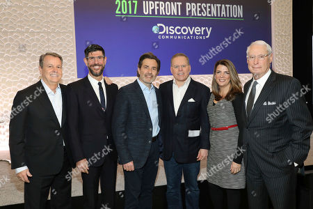 L to R): Ben Price, President of Advertising Sales; Rich Ross, Group President, Discovery Channel, Animal Planet, Science Channel & Velocity; Paul Guyardo, Chief Commercial Officer, Discovery Communications; David Zaslav, President & CEO, Discovery Communications; Nancy Daniels, President, TLC & Discovery Life; and Henry Schleiff, Group President, Investigation Discovery, Destination America & American Heroes Channel together at the Discovery Communications Upfront Press Breakfast in New York