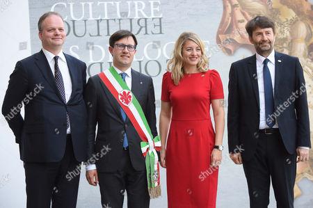 The director of the Uffizi Eike Schimidt, Mayor of Florence Dario Nardella, Canada Minister Melanie Joly, Minister Dario Franceschini