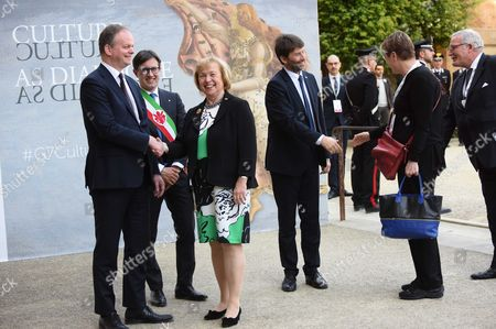 The director of the Uffizi Eike Schimidt, Mayor of Florence Dario Nardella, Germany Minister Maria Bohmer, Minister Dario Franceschini