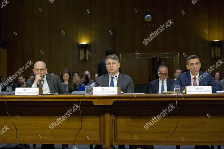 """United States Senate Select Committee on Intelligence conducts an open hearing titled """"Disinformation: A Primer in Russian Active Measures and Influence Campaigns"""" on Capitol Hill in Washington, DC. The first panel to testify, from left to right: Dr. Roy Godson, Professor of Government Emeritus, Georgetown University; Dr. Eugene Rumer, Director of Russia and Eurasia Program, Carnegie Endowment for International Peace; and Clinton Watts, Senior Fellow, Foreign Policy Research Institute Program on National Security."""