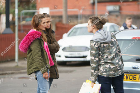Outside her house Rosie Webster, as played by Helen Flanaghan, and Sophie Webster, as played by Brooke Vincent, approach Leah, as played by Molly McGlynn, and accuse her of harassing Sally. Leah claims her mum is the culprit and promises to have a word. (Ep 9145 - Mon 17 April 2017)