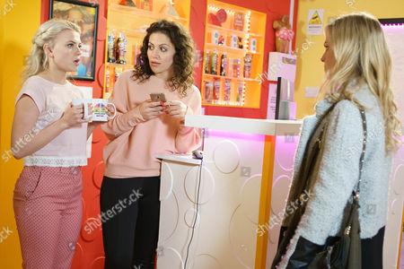 When Sarah Platt, as played by Tina O'Brien, then finds out that Bethany Platt, as played by Lucy Fallon, is bunking off again, she storms into the tanning salon and drags an embarrassed Bethany home. Also pictured Mel, as played by Sonia Ibrahim. (Ep 9147 - Fri 21 April 2017)