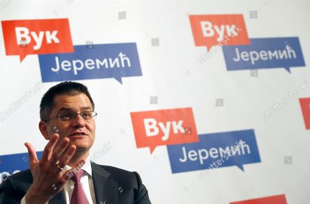 Presidential candidate Vuk Jeremic speaks during an interview with The Associated Press, in Belgrade, Serbia, . Jeremic is running as an independent candidate, with no party affiliation, but is supported by right-leaning opposition groups. The first round of presidential elections is scheduled for Sunday April 2, 2017, that will test the popularity of dominant populist leader Aleksandar Vucic against an array of vociferous opposition candidates