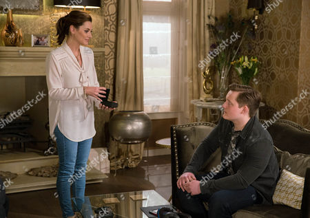 Chrissie White's, as played by Louise Marwood, hurt when Lachlan White's, as played by Thomas Atkinson, indifferent towards her despite giving him keys to a Porsche. (Ep 7805 - Thur 20 April 2017)