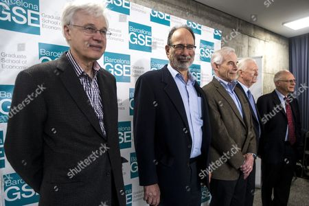 Stock Photo of (L-R) Nobel Laureates in Economy, Finnish Bengt Holmstroem, US Alvin Roth, Christopher A. Sims, Scottish James Mirrlees, and US Oliver Hart attend the 10th anniversary of the Barcelona Graduate School of Economics, in Barcelona, northeastern Spain, 31 March 2017.