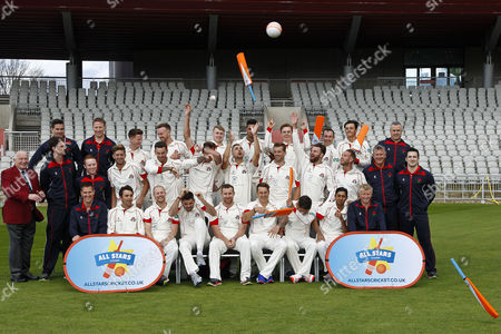 Stock Picture of Lancashire County Cricket Club PhotoCall 2017 at Old Trafford, Manchester. Photo by Craig Galloway., Lancashire's squad in the County Championship Whites Kit., End of the Photo-shoot as the players celebrate by throwing balls and bats at the photographers., L-R: (Players only), Back Row - Jordan Clark, Daniel Lamb, Matthew Parkinson, Saqib Mahmood, Brooke Guest, Josh Bohannon, Rob Jones., Middle Row - Toby Lester, Jordan Clark, Tom Bailey, Liam Livingstone, Dane Vilas, Arron Lilley, Luke Procter., Front Row - Stephen Parry, Karl Brown, James Anderson, Steven Croft, Kyle Jarvis, Simon Kerrigan, Haseeb Hameed