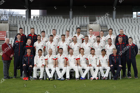 Stock Photo of Lancashire County Cricket Club PhotoCall 2017 at Old Trafford, Manchester. Photo by Craig Galloway., Lancashire's squad in the County Championship Whites Kit., L-R: (Players only), Back Row - Jordan Clark, Daniel Lamb, Matthew Parkinson, Saqib Mahmood, Brooke Guest, Josh Bohannon, Rob Jones., Middle Row - Toby Lester, Jordan Clark, Tom Bailey, Liam Livingstone, Dane Vilas, Arron Lilley, Luke Procter., Front Row - Stephen Parry, Karl Brown, James Anderson, Steven Croft, Kyle Jarvis, Simon Kerrigan, Haseeb Hameed