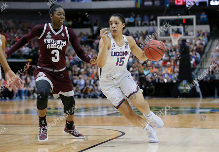 Gabby Williams, Breanna Richardson Connecticut guard Gabby Williams (15) drives around Mississippi State forward Breanna Richardson (3) during the first half of an NCAA college basketball game in the semifinals of the women's Final Four, Friday, March 31, 2017, in Dallas