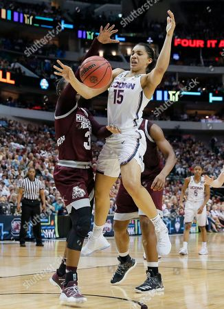 Gabby Williams, Breanna Richardson Connecticut guard Gabby Williams (15) is fouled by Mississippi State forward Breanna Richardson (3) during the first half of an NCAA college basketball game in the semifinals of the women's Final Four, Friday, March 31, 2017, in Dallas