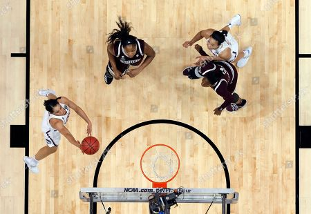 Napheesa Collier, Gabby Williams, Breanna Richardson, Chinwe Okorie Connecticut guard Gabby Williams, left, goes up for a shot as Mississippi State's Chinwe Okorie (45), Breanna Richardson (3), bottom right, and Napheesa Collier, top right, watch during an NCAA college basketball game in the semifinals of the women's Final Four, in Dallas
