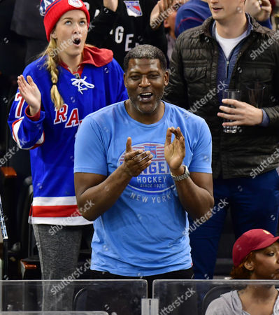 Larry Johnson attends Pittsburgh Penguins vs New York Rangers game at Madison Square Garden