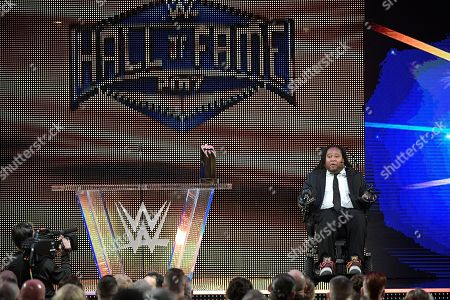 IMAGE DISTRIBUTED FOR WWE - Former Rutgers college football player Eric LeGrand is named recipient of the WWE Warrior Award, as part of the WrestleMania 33 weekend, during the WWE Hall of Fame induction ceremony, in Orlando, Fla