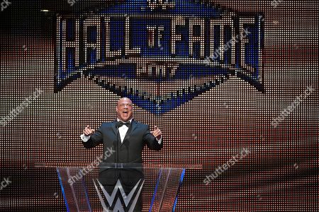 IMAGE DISTRIBUTED FOR WWE - Kurt Angle addresses the crowd after being inducted into the WWE Hall of Fame as part of the WrestleMania 33 weekend at a ceremony, in Orlando, Fla