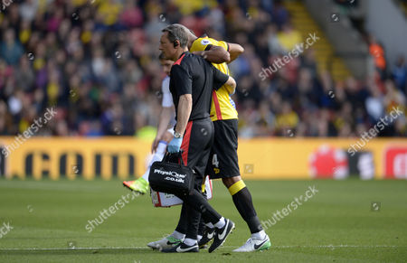 Stock Image of Younes Kaboul of Watford is substituted following an injury during the Premier League match between Watford and Sunderland played at Vicarage Road, Watford on 1st April 2017