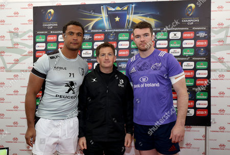 Munster vs Toulouse. Munster's Peter O'Mahony and Thierry Dusautoir of Toulouse with referee JP Doyle during the coin toss