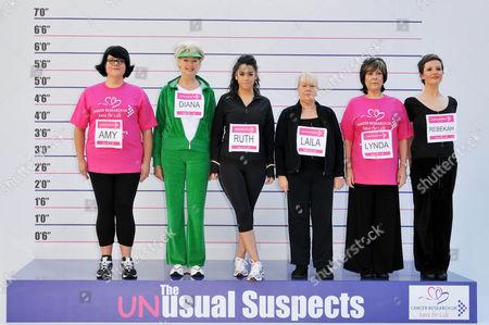 Comedienne Amy Lame, TV presenter Diana Moran, singer Ruth Lorenzo, actresses Laila Morse, Lynda Bellingham and Rebekah Gibbs