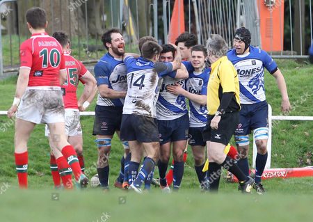 Stock Photo of Try celebration by Matt King of Macclesfield during the RFU National League One match between Macclesfield RUFC and Plymouth Albion on Saturday 1st April 2017 at Priory Park, Macclesfield