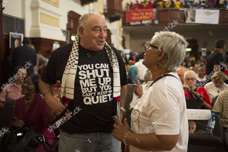 Former anti-apartheid struggle veteran Ronnie Kasrils (L) with supporters of late anti-apartheid activist Ahmed Kathrada, attended his public memorial service in Johannesburg, South Africa, 01 April 2017. Kathrada, an anti-apartheid struggle icon and close friend of the late former South African President, Nelson Mandela died on 28 March. The memorial was supposed to be hosted by the President Zuma led government but was cancelled by them suddenly, leaving the Nelson Mandela Foundation, the South African Communist Party and the Ahmed Kathrada Foundation to host the event.