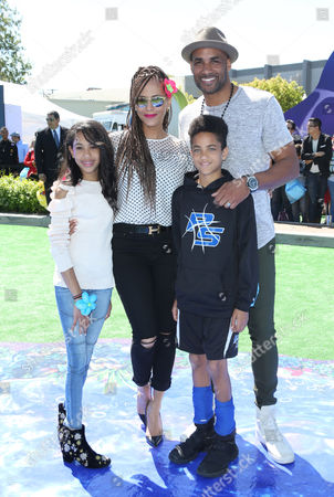 Stock Picture of Nicole Ari Parker, Boris Kodjoe, daughter Sophie Tei-Naaki Lee Kodjoe and son Nicolas Neruda Kodjoe
