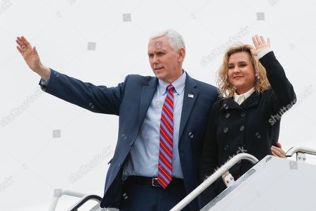 Mike Pence, Charlotte Pence Vice President Mike Pence, left, and his daughter Charlotte wave before departing from John Glenn Columbus International Airport, in Columbus, Ohio. Pence visited with businesspeople at DynaLab, Inc., an American electronics manufacturing services company, and toured the facility before delivering remarks to news media