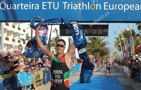 Portuguese athlete Joao Pereira wins the   Triathlon Elite European Cup trial held at Quarteira, Portugal, 01 April 2017.
