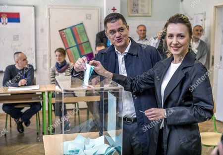 Stock Picture of Presidential candidate and former president of the United Nations General Assembly, Vuk Jeremic  (L) and his wife Natasa cast the ballots at a polling station in Belgrade, Serbia, 02 April 2017. Eleven candidates are running for the office of the President of the republic of Serbia, the term of office that will last five years and begin from the day of taking of the oath before the National Assembly.