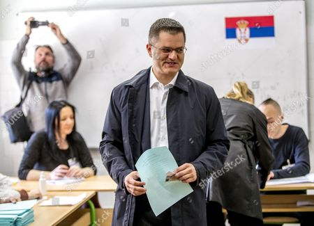 Stock Photo of Presidential candidate and former president of the United Nations General Assembly, Vuk Jeremic prepares to vote during the Serbian Presidential elections, at a polling station in Belgrade, Serbia, 02 April 2017. Eleven candidates are running for the office of the President of the republic of Serbia, the term of office that will last five years and begin from the day of taking of the oath before the National Assembly.
